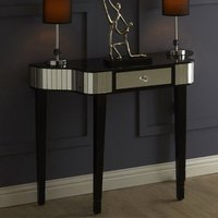 Product photograph showing Clavona Mirrored Console Table In Black