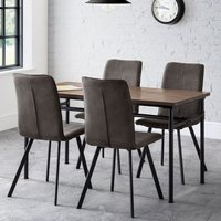 Clemson Wooden Dining Table In Mocha Elm With 4 Anya Grey Chairs