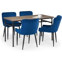 Clemson Wooden Dining Table In Mocha Elm With 4 Luxe Blue Chairs