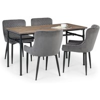 Clemson Wooden Dining Table In Mocha Elm With 4 Luxe Grey Chairs