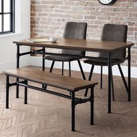 Clemson Dining Table In Mocha Elm With Bench 2 Anya Grey Chairs