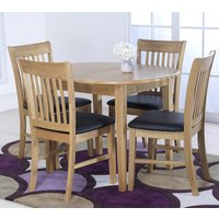 Product photograph showing Clesion Extending Dining Table In Natural With 4 Chairs