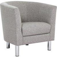 Product photograph showing Clesto Fabric Upholstered Armchair In Light Grey