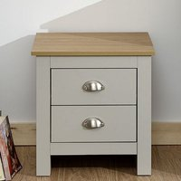 Valencia Wooden Bedside Cabinet In Grey And Oak With 2 Drawers
