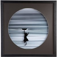 Product photograph showing Climbing Cat Picture Glass Wall Art In White Wooden Frame