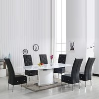 Clintock High Gloss Dining Table And 6 Asam Black Chairs