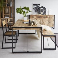 Product photograph showing Clio Industrial Dining Table In Oak With 2 Chairs And Bench