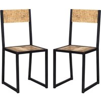 Product photograph showing Clio Industrial Oak Wooden Dining Chairs In Pair