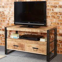 Product photograph showing Clio Industrial Wooden Tv Stand In Oak With 2 Drawers