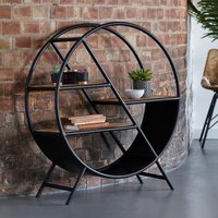 Product photograph showing Clio Round Open Metal Bookcase In Black