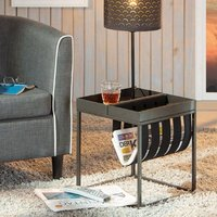 Product photograph showing Club Ny Magazine Metal Side Table In Anthracite