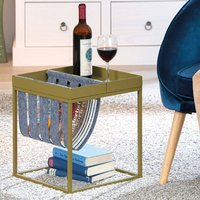 Product photograph showing Club Ny Magazine Metal Side Table In Martini Olive