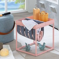 Product photograph showing Club Ny Magazine Metal Side Table In Mellow Pink