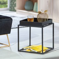 Product photograph showing Club Ny Metal Side Table In Deep Black