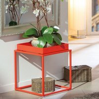 Product photograph showing Club Ny Metal Side Table In Juicy Orange Red
