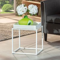 Product photograph showing Club Ny Metal Side Table In Snow White