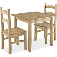 Product photograph showing Coba Mexican Small Dining Set In Distressed Pine With 2 Chairs