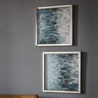 Product photograph showing Cobalt Set Of 2 Framed Wall Art In Blue And Silver Hues