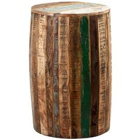 Product photograph showing Coburg Wooden Drum Stool In Vintage Oak