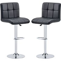 Product photograph showing Coco Black Faux Leather Bar Stools In Pair