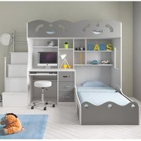 Product photograph showing Coco Wooden Combined Bunk Bed In White And Grey