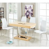 Coco Dining Table In Oak Veneer With 4 Opal White Chairs