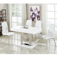 Coco Dining Table In White Gloss With 4 Opal Chairs