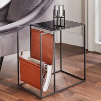 Product photograph showing Cody Black Glass Top Side Table With Leather Magazine Holder