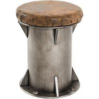 Product photograph showing Colony Wooden Stool In Anthracite With Brown Leather Seat