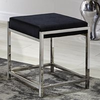 Product photograph showing Colony Velvet Fabric Stool In Black With Stainless Steel Legs