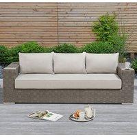 Columbine Wicker Weave Garden 3 Seater Sofa In Grey