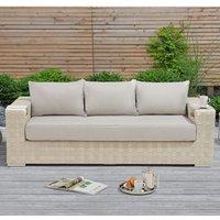 Columbine Wicker Weave Garden 3 Seater Sofa In Ivory And Cream