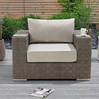 Columbine Wicker Weave Garden Armchair In Grey