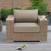 Columbine Wicker Weave Garden Armchair In Taupe And Brown