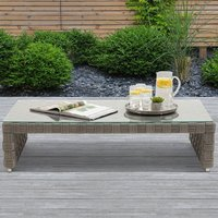 Columbine Wicker Weave Garden Coffee Table In Grey With Glass Top