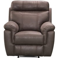 Product photograph showing Colyton Fabric Recliner Sofa Chair In Brown Finish