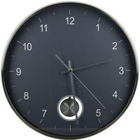 Comb Glass Wall Clock With Dark Grey And Silver Metal Frame
