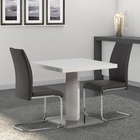Product photograph showing Como Square Dining Set In White High Gloss With 2 Monaco Chairs