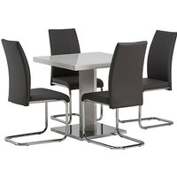 Product photograph showing Como White High Gloss Dining Table With 4 Monaco Grey Chairs