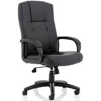 Compton Leather Executive Office Chair In Black With Arms