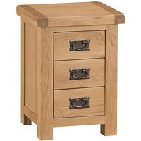 Concan Wooden 3 Drawers Bedside Cabinet In Medium Oak