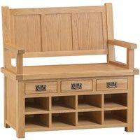 Concan Wooden Hallway Storage Seating Bench In Medium Oak