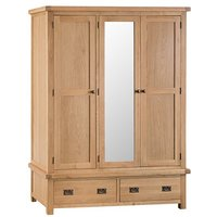 Product photograph showing Concan Mirrored 3 Doors Wardrobe In Medium Oak
