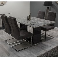 Connor Marble Dining Table In Grey And High Gloss With 4 Chairs