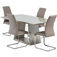 Product photograph showing Conrad Latte Gloss Dining Table With 4 Soho Cappuccino Chairs