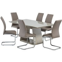 Product photograph showing Conrad Latte Gloss Dining Table With 6 Soho Cappuccino Chairs