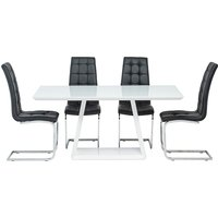 Product photograph showing Conrad White Gloss Dining Table With 4 Moreno Black Chairs
