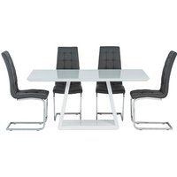 Product photograph showing Conrad White Gloss Dining Table With 4 Moreno Grey Chairs