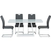 Product photograph showing Conrad White Gloss Dining Table With 4 Oscar Grey Chairs