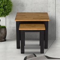 Product photograph showing Copenhagen Oiled Wood Nest Of Tables With Black Frame